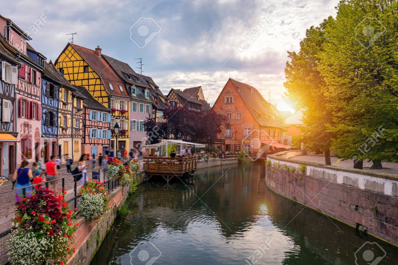 Colmar, Alsace, France. Petite Venice, water canal and traditional half timbered houses. Colmar is a charming town in Alsace, France. Beautiful view of colorful romantic city Colmar, France, Alsace. - 129073556