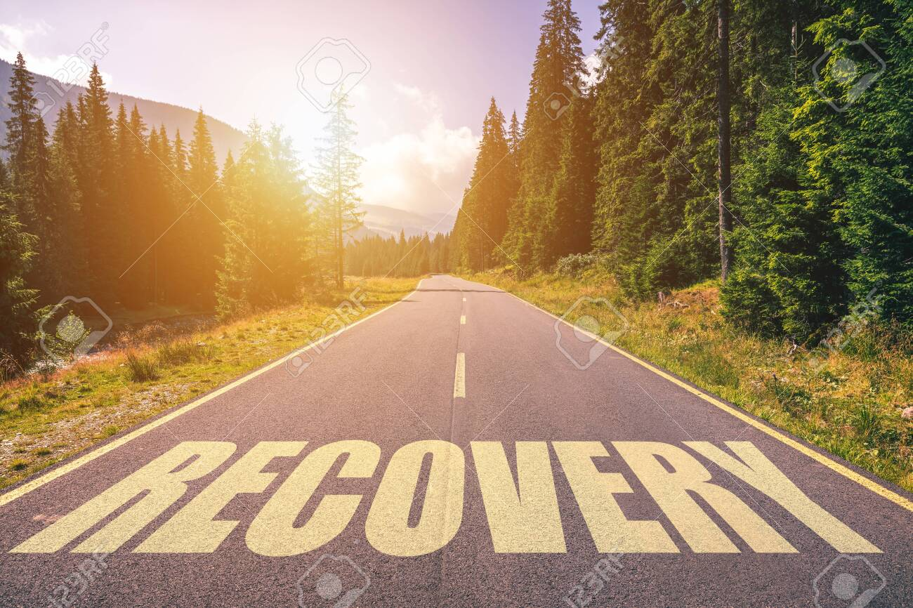 Recovery word written on road in the mountains - 142067594