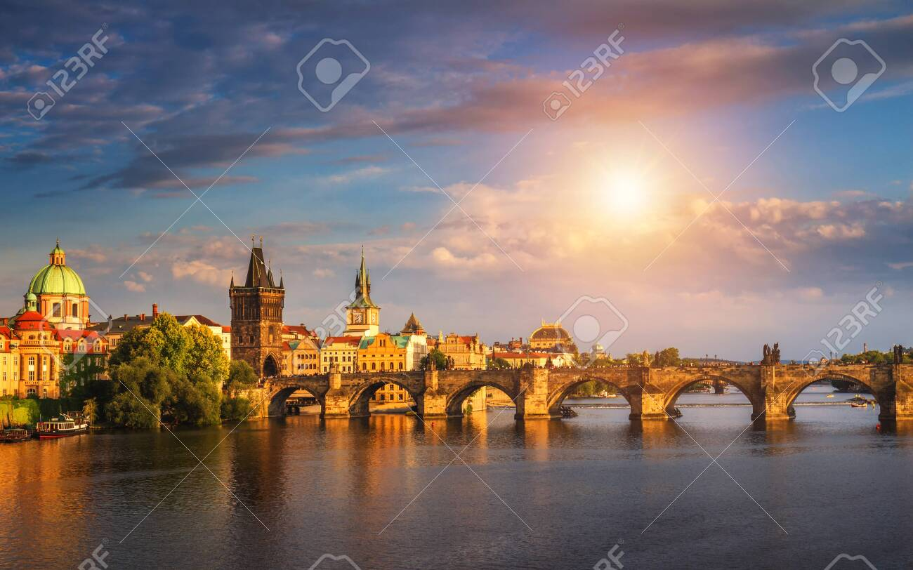 Prague, Czech Republic panorama with historic Charles Bridge and Vltava river on sunny day. - 145366463