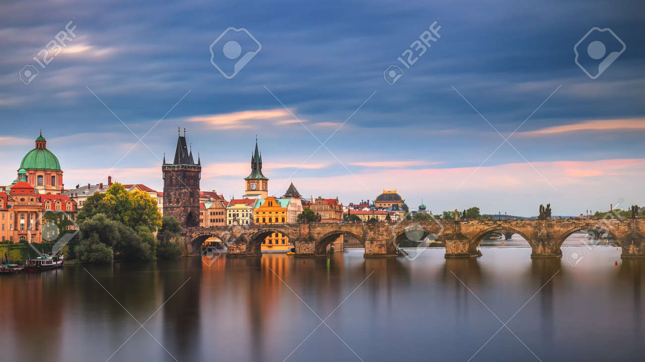Prague city and Charles Bridge in the Old Town of Prague, Czech Republic - 168255341