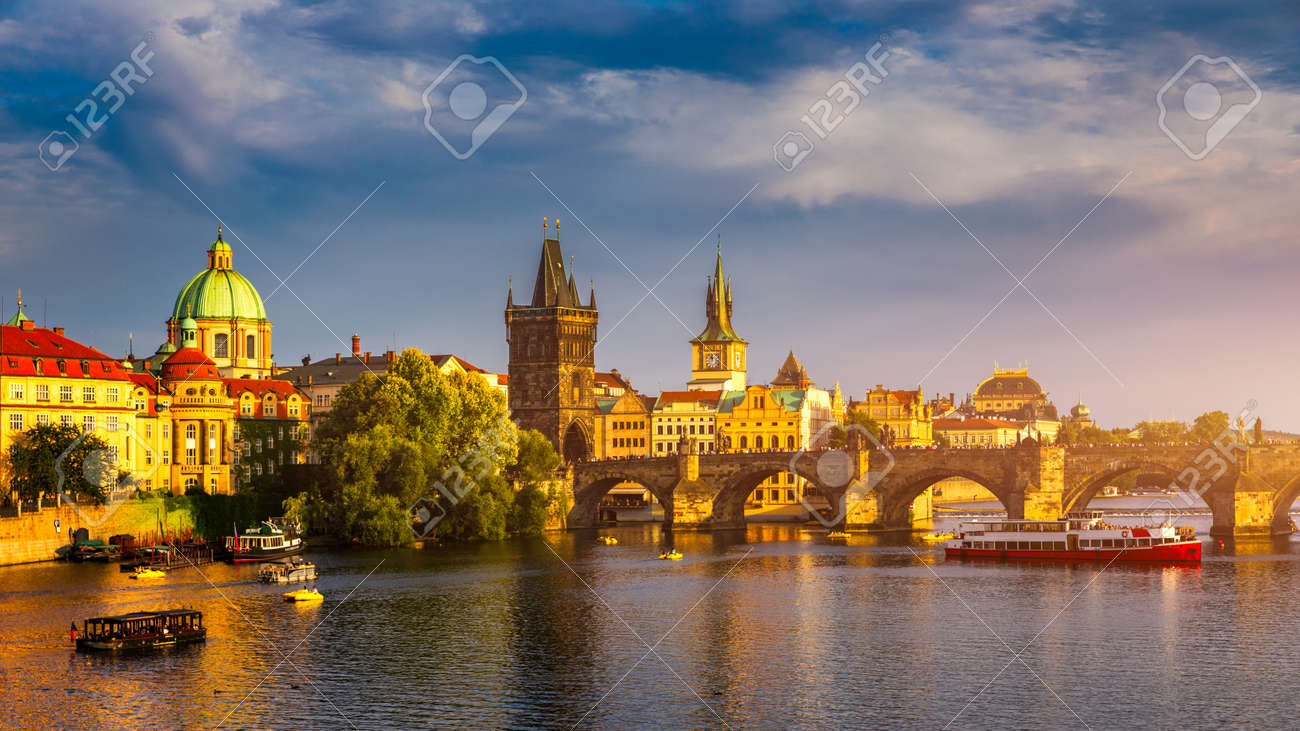 Charles Bridge, Old Town and Old Town Tower of Charles Bridge, Prague, Czech Republic. Prague old town and iconic Charles bridge, Czech Republic. Charles Bridge (Karluv Most) and Old Town Tower. - 168255344