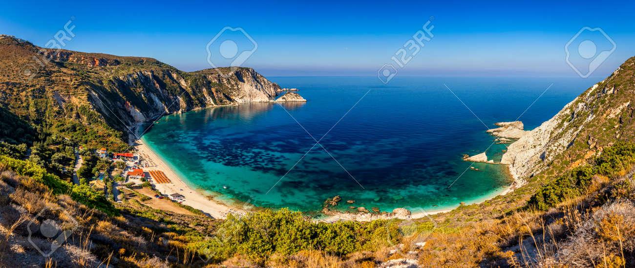 Famous Petani beach in Kefalonia island, Greece. View of Petani bay and beautiful beach, Kefalonia island, Greece - 168255596