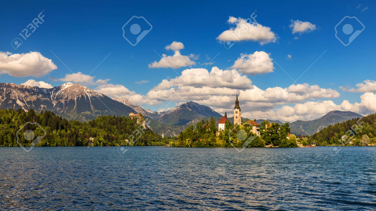 Lake Bled with St. Marys Church of Assumption on small island. Bled, Slovenia, Europe. The Church of the Assumption, Bled, Slovenia. The Lake Bled and Santa Maria Church near Bled, Slovenia. - 168255780