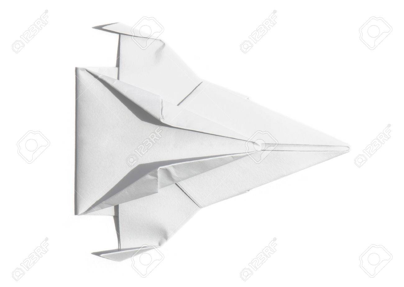 Overhead View Of A Nice Origami Spaceship Isolated Over Sheet Paper Stock Photo