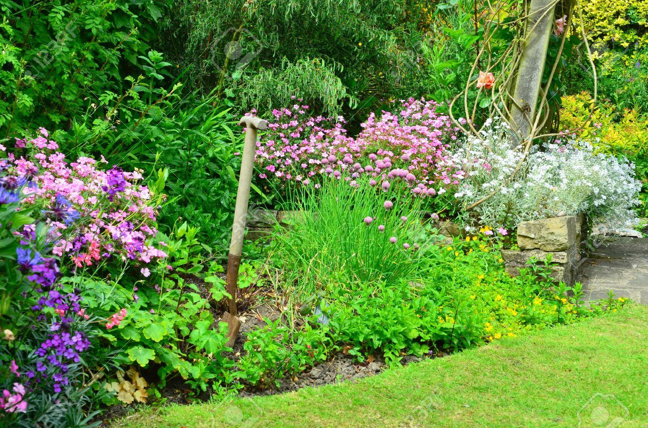 english country garden flower borders stock photo, picture and