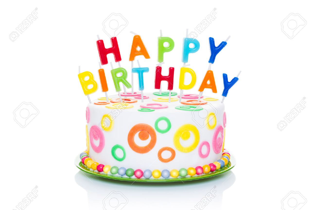 Happy Birthday Cake Or Tart With Letters As Candles Very Colorful And Looking