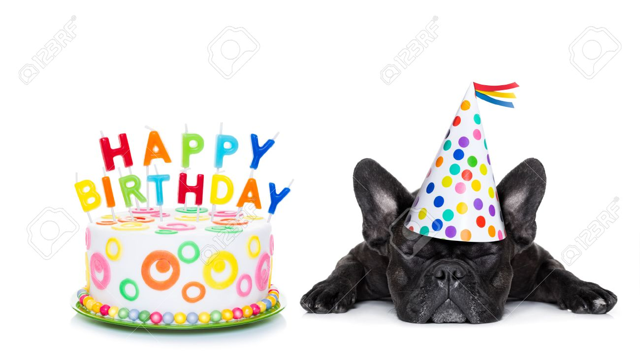 French Bulldog With Happy Birthday Cake And Candles A Party Hat Eyes Closed