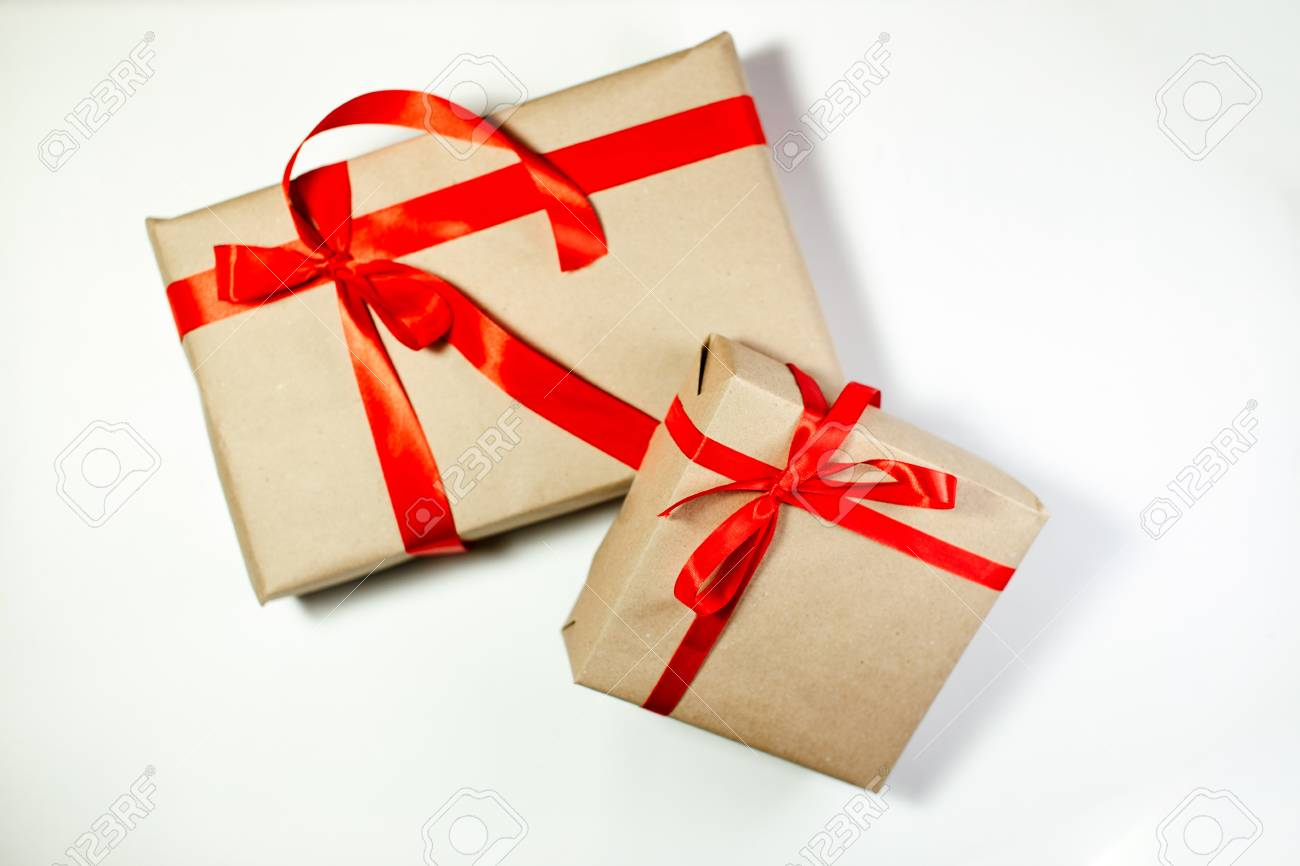 Classy Christmas Gifts Box Presents On White Background Small