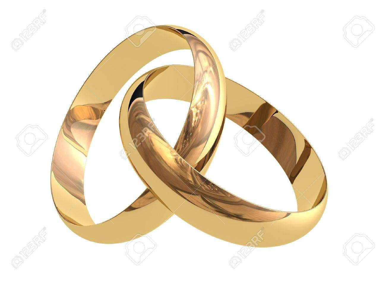 two linked wedding rings on a white background stock photo