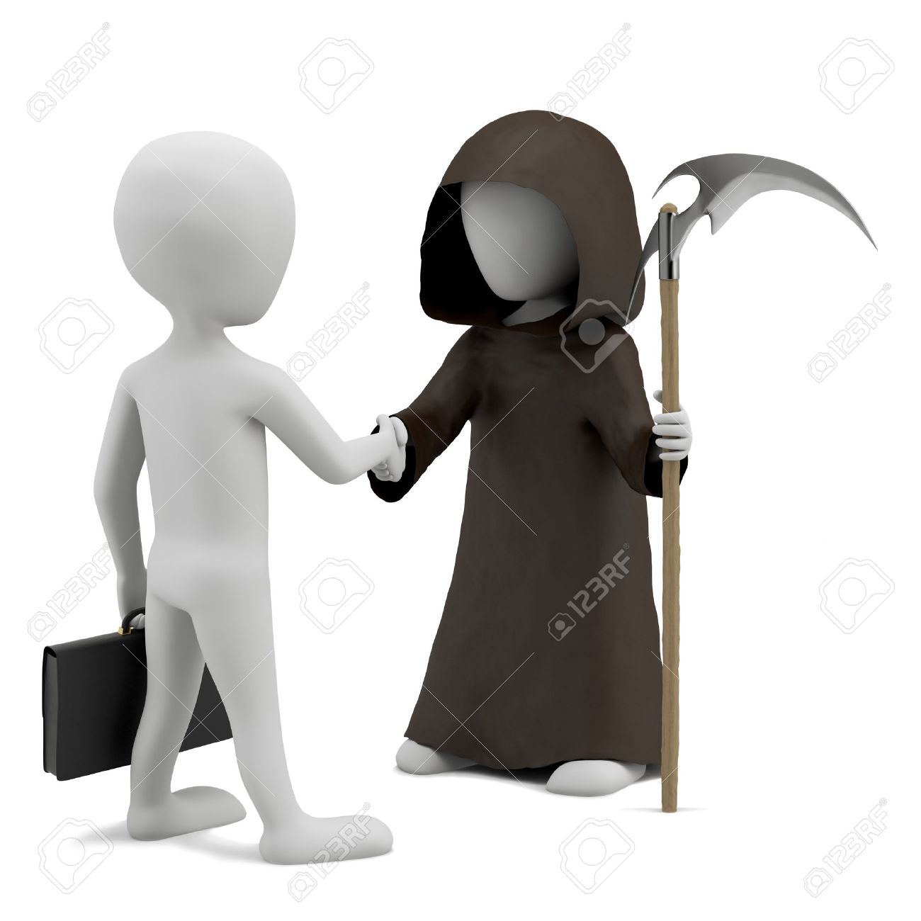 Shaking Hands With Death 3d Image On A White Background Stock Photo