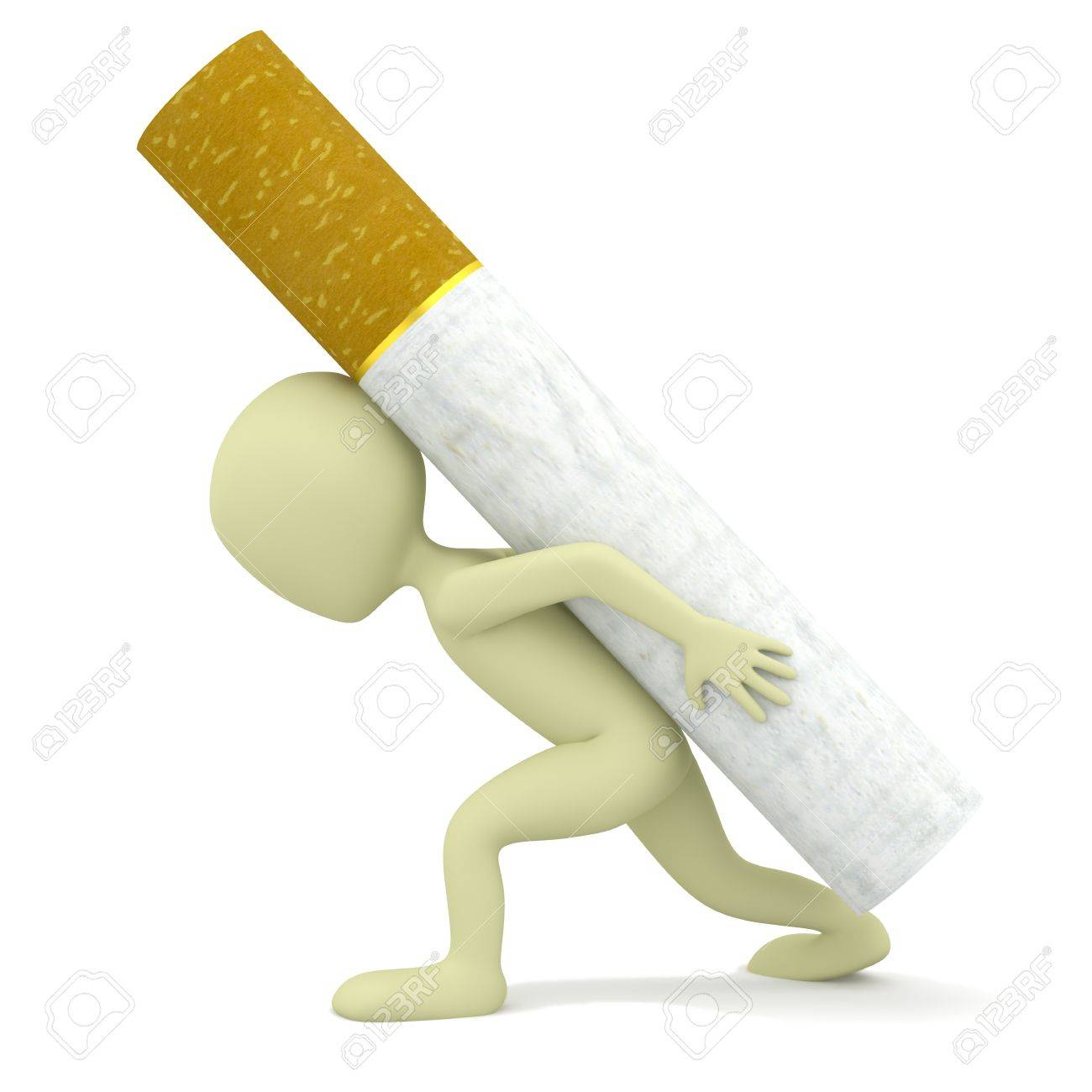 3d small person carries a heavy cigarette  3d image  On a white background Stock Photo - 17442628