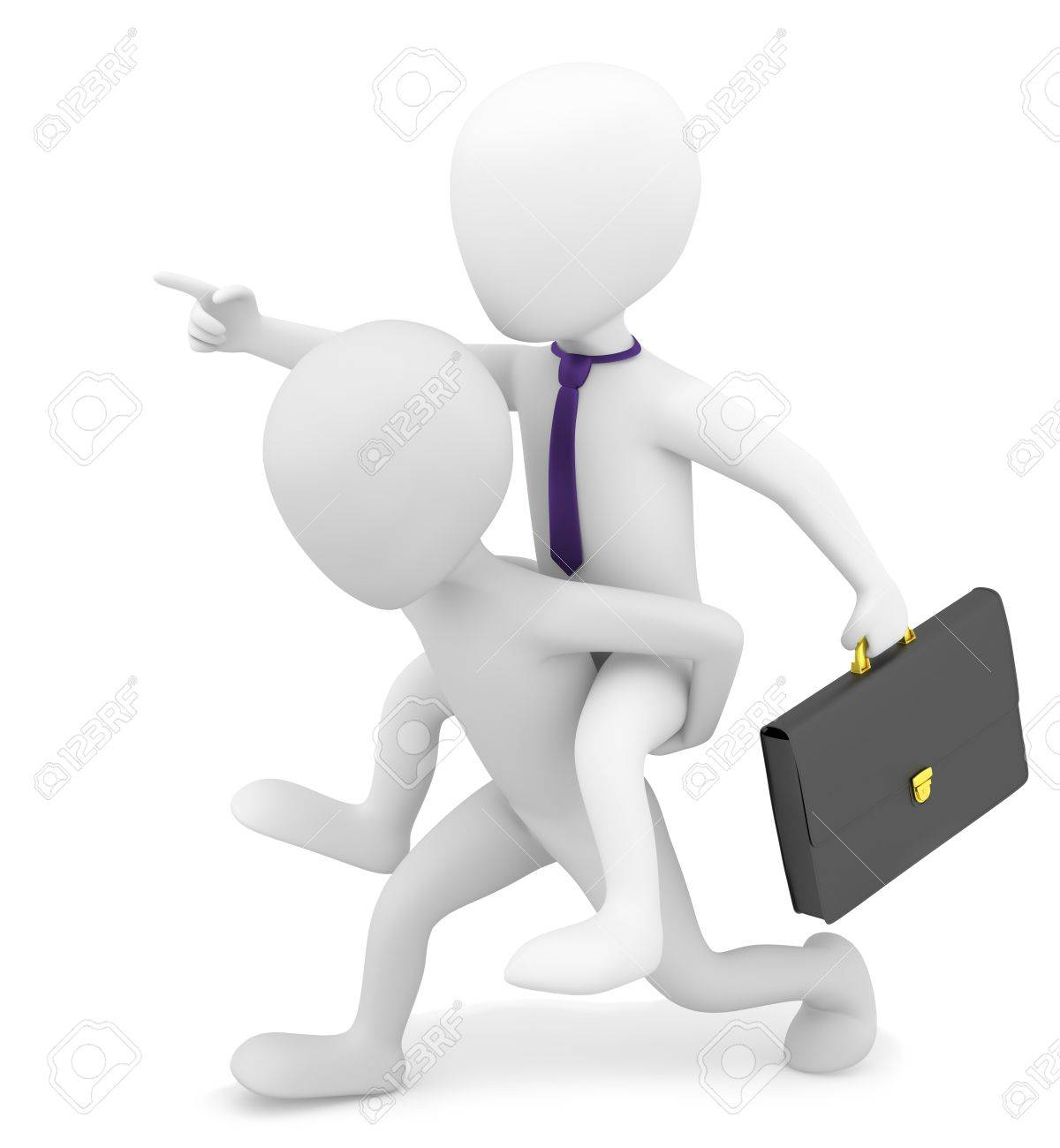 3d small person carries on his back businessman  3d image  On a white background Stock Photo - 17442617
