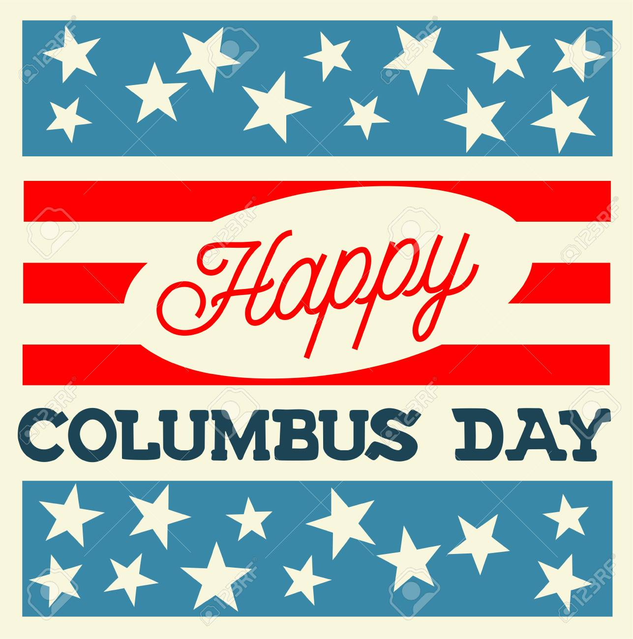 Vintage Style Vector Illustration - Happy Columbus Day - 46494901