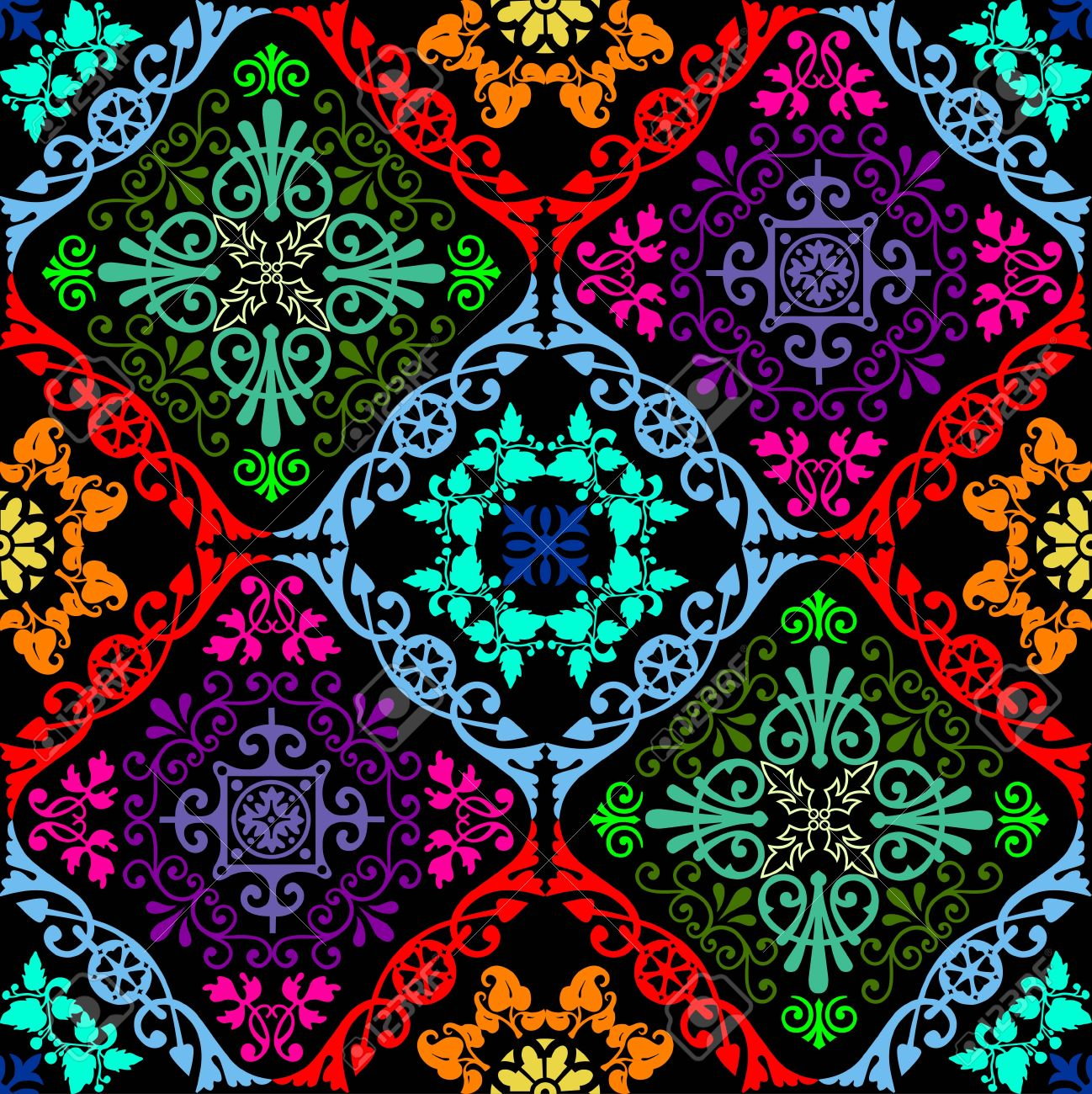 Fusion of old damask ornament with fluorescent colors - 46781089