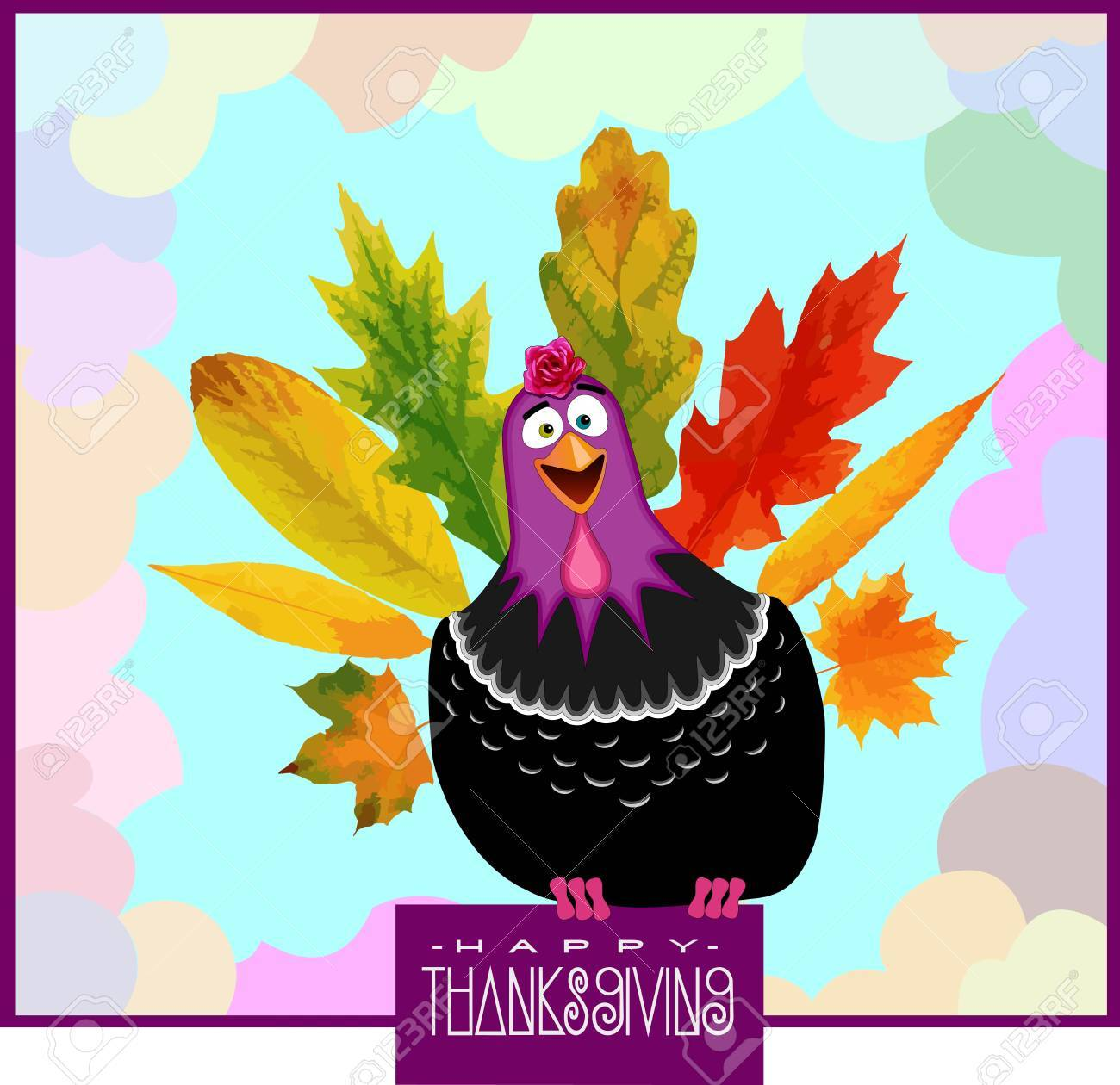 Thanksgiving Day Poster with Funny Turkey and falling Leafs - 47377027