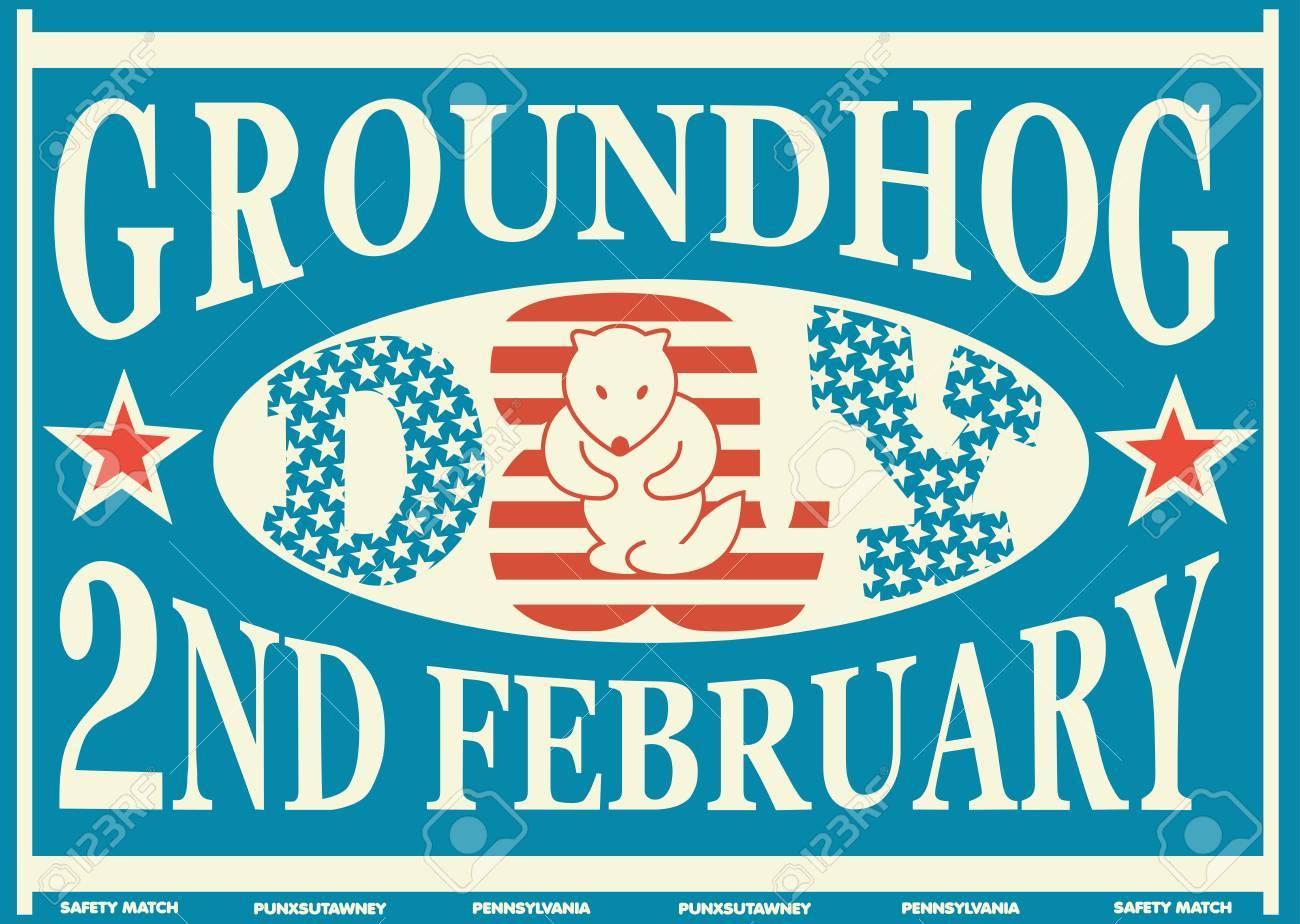 Old American Groundhog Day Vintage Match Label - 51789448