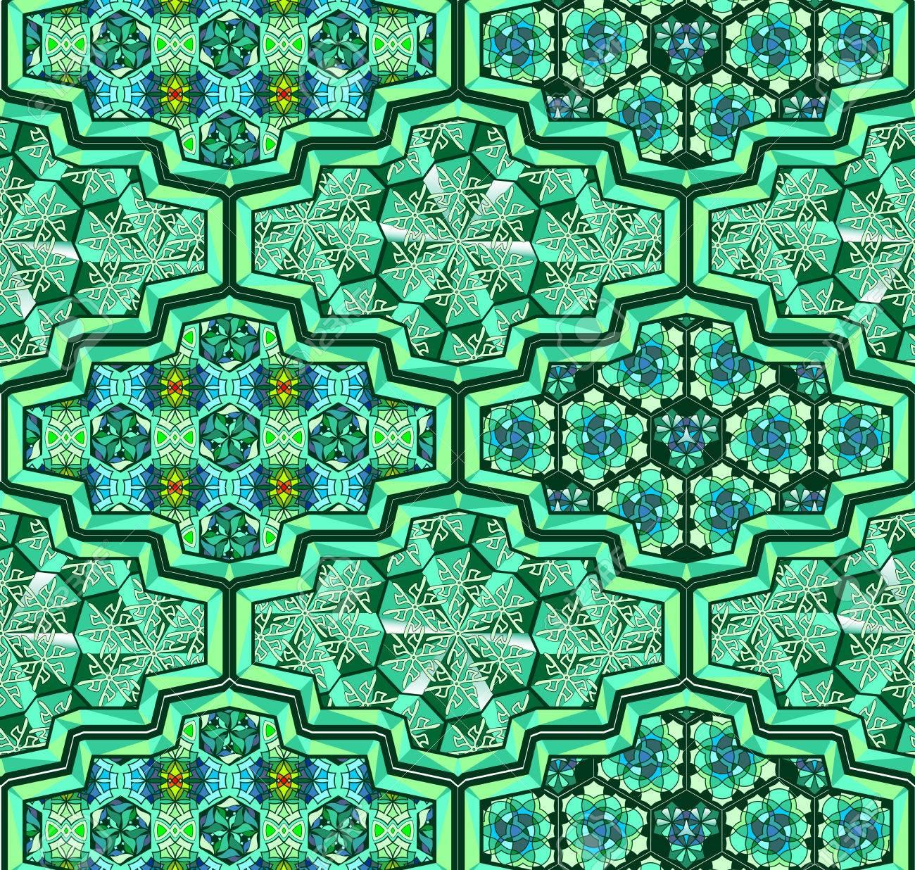 Arabic mosque saint ornamental tiles stylized for Ramadan - 52526624