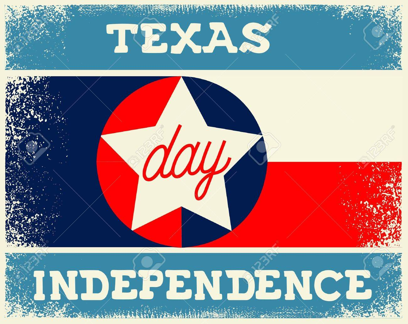 Texas Independence Day vintage old flag poster - 66115761