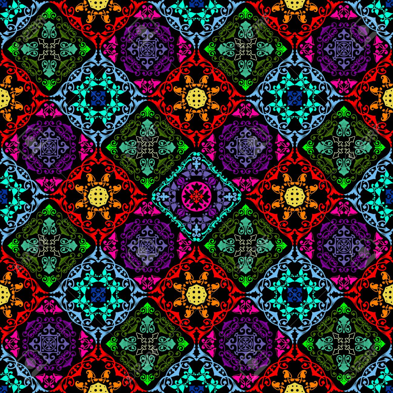 Fusion of old damask ornament with fluorescent colors and mushroom theme - 69053589