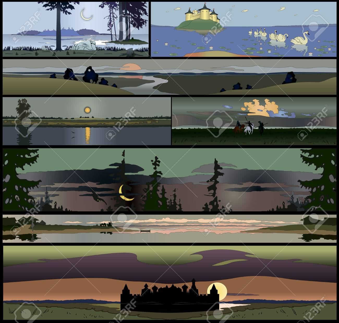 Set of 8 seamless panoramical landscapes - 69152336