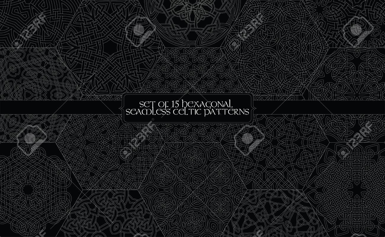 Set of 15 hexagonal seamless celtic patterns - 125307145
