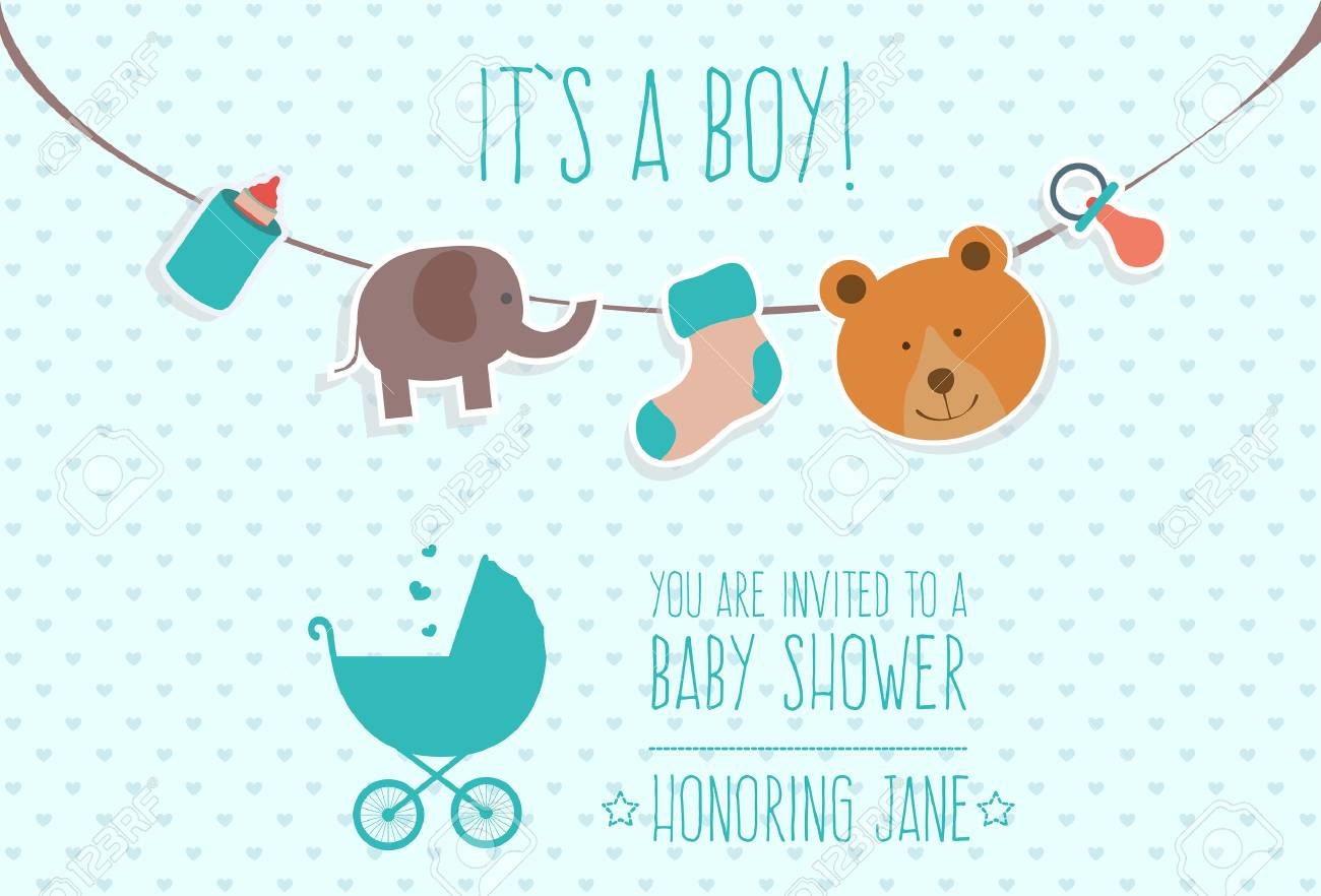 Blue Baby Shower Invitation Card Design Royalty Free Cliparts