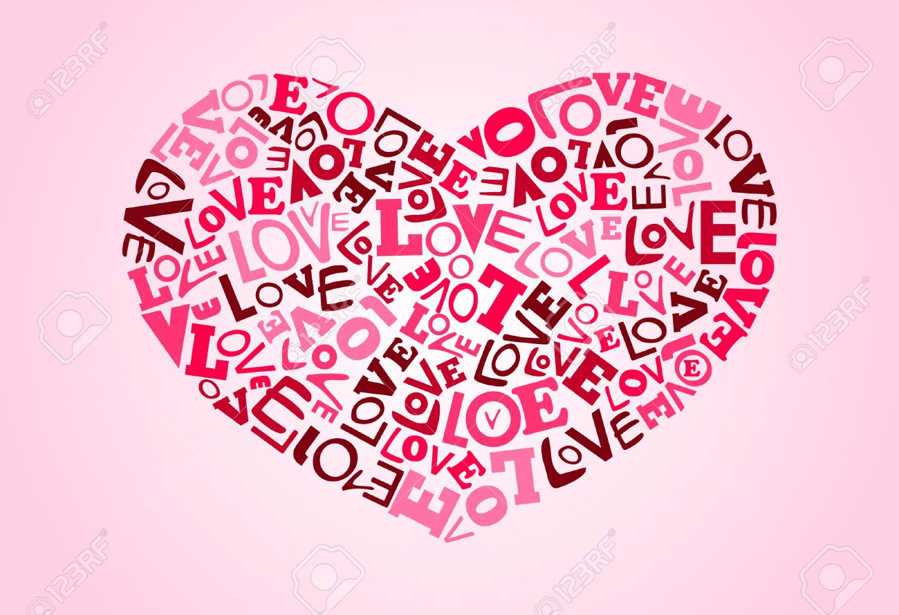 Collage of love words scattered around making heart shape. All color in global color Stock Vector - 9635434