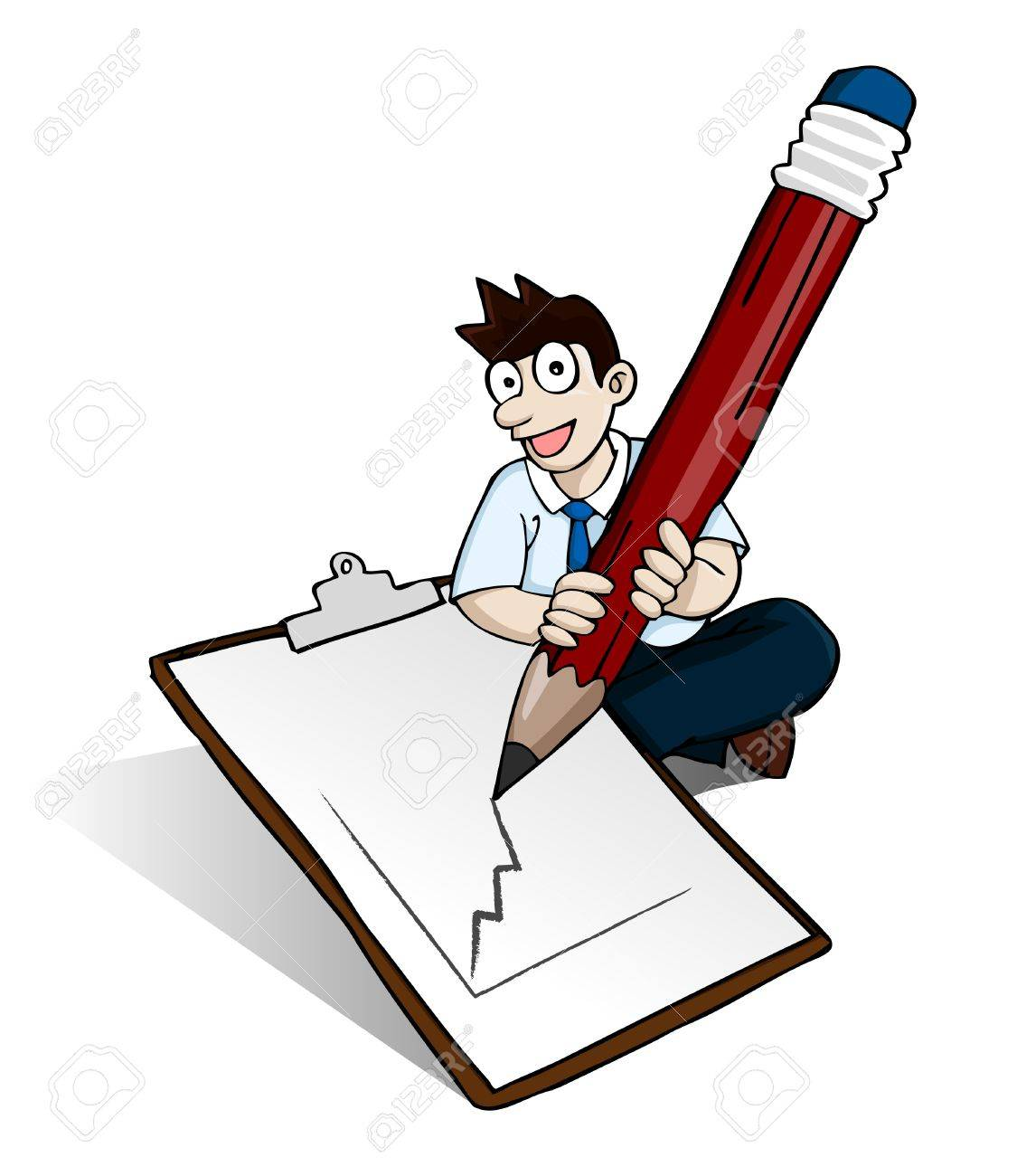 image of man holding big pencil drawing graphic on paper note on his feet in white background. Of course you can put any picture or word into the paper Stock Vector - 9635435