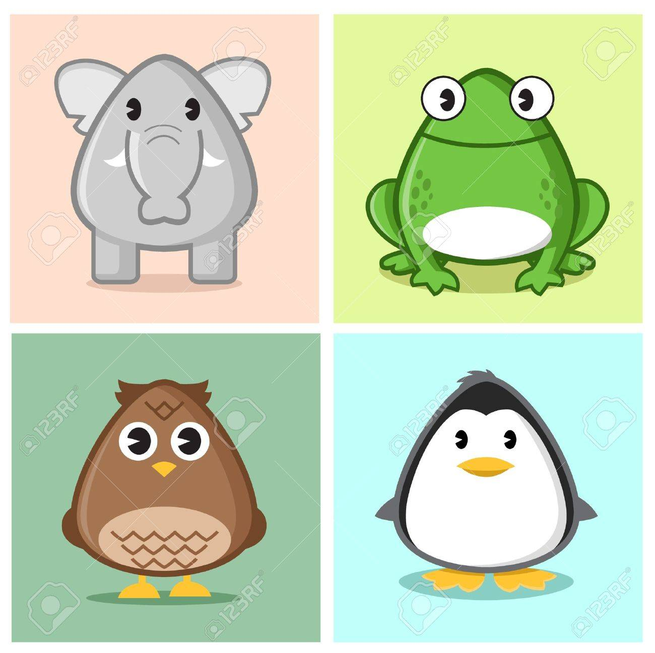 Image Of Animal (elephant, Frog, Owl, Penguin) In Caricature ...