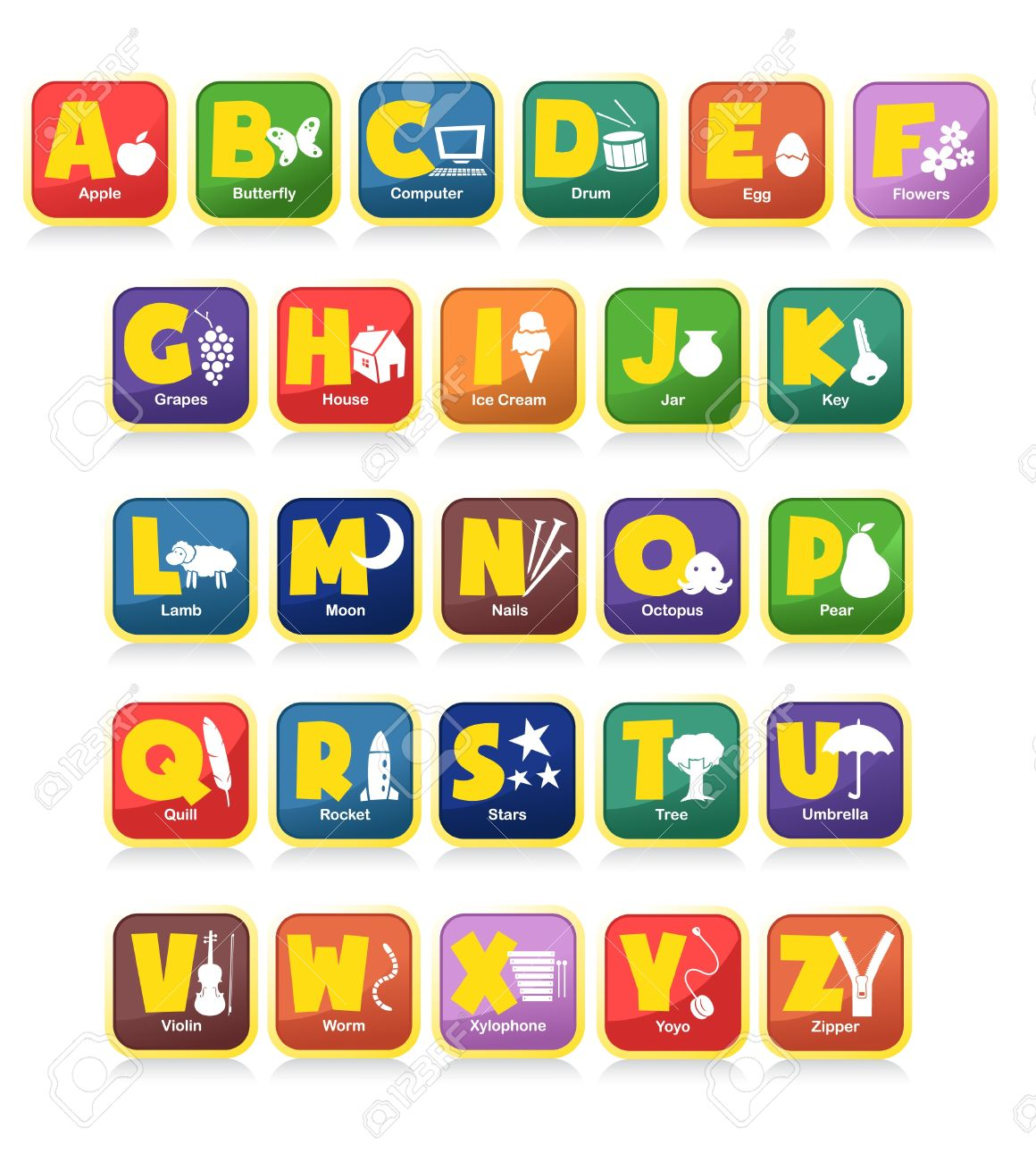 complete 26 vector of alphabet along with the initial objects. Suitable for children poster or toys Stock Vector - 9716739