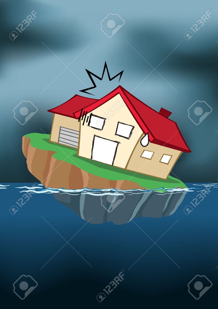Image of house in cartoon style sinking into the water Stock Vector - 10036783