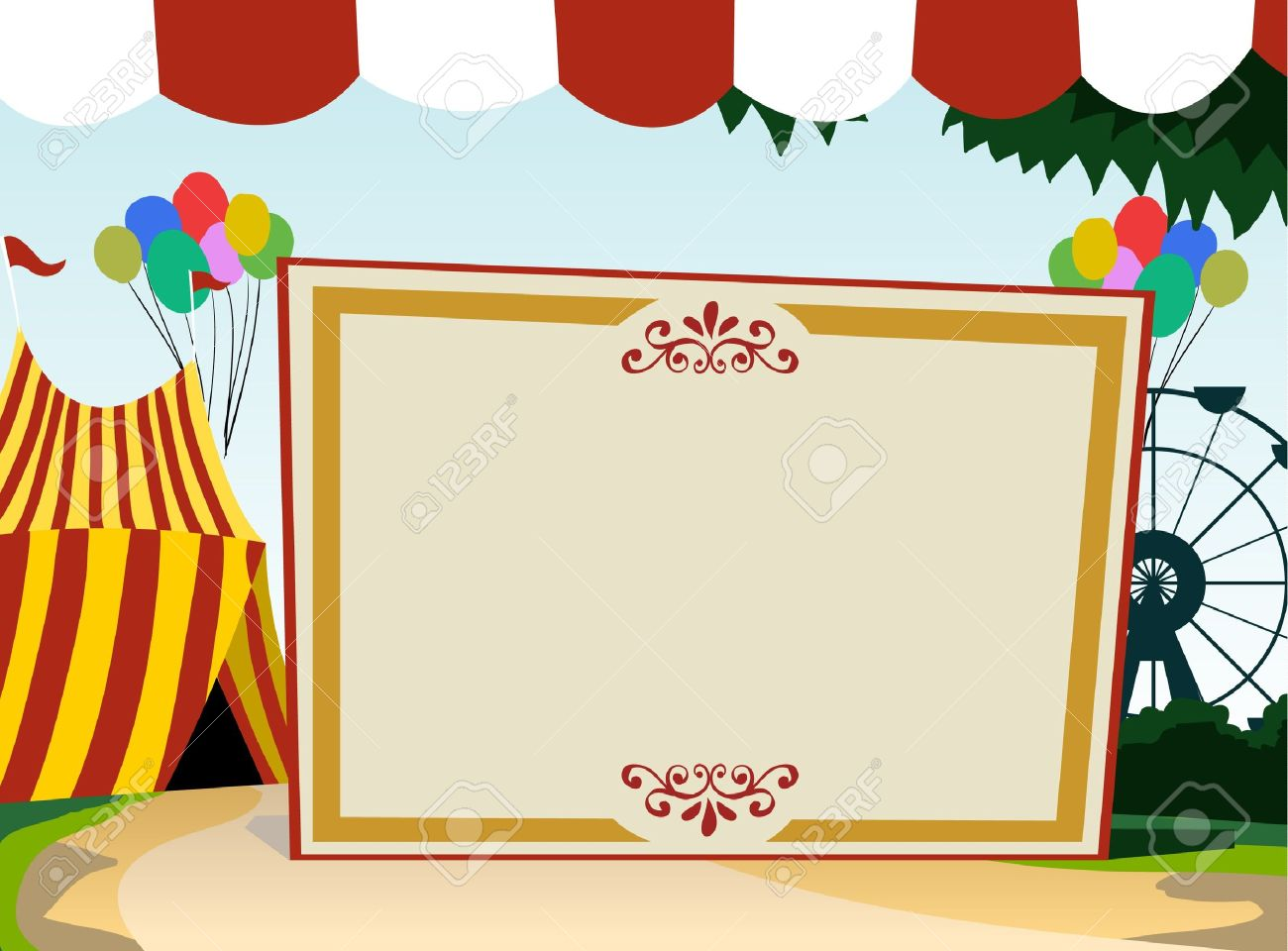Image Of Blank Board With Carnival Theme