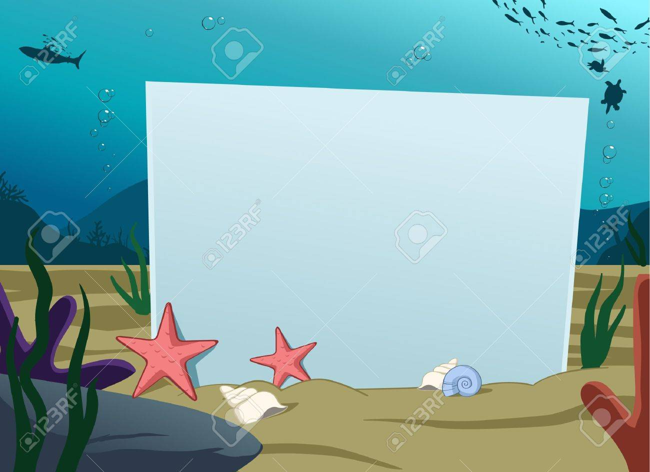 Image of blank board under water decoration Stock Vector - 10139961