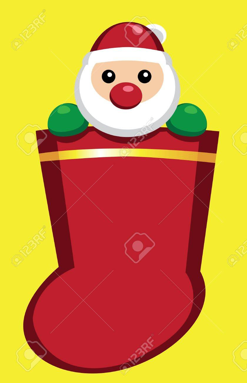 Image of Santa Claus in a christmas sock Stock Vector - 11099813