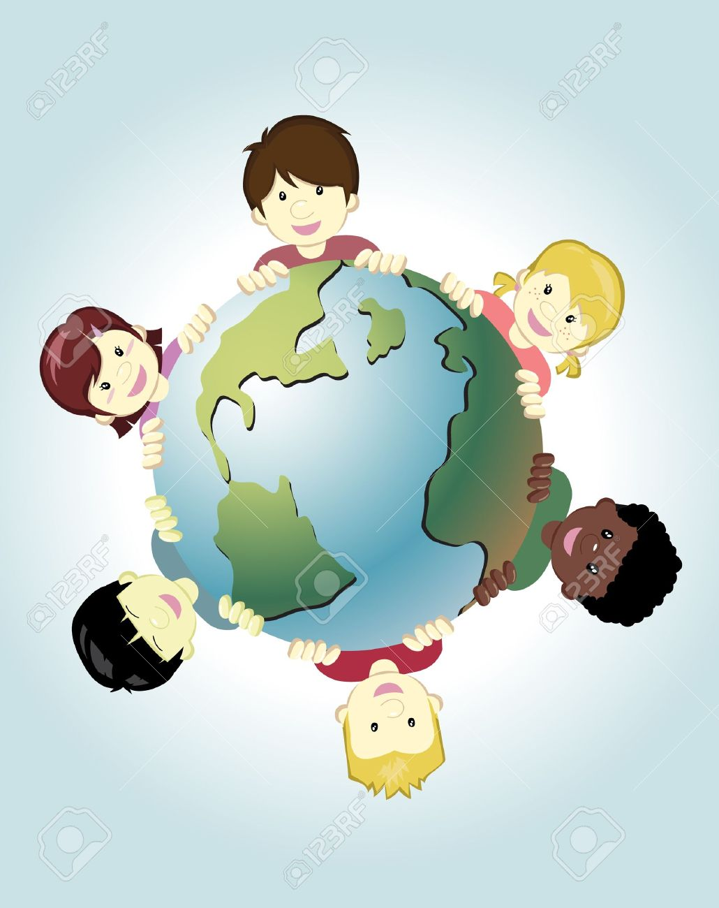 Image of children around the world holding the earth as symbol of peace Stock Vector - 12488200