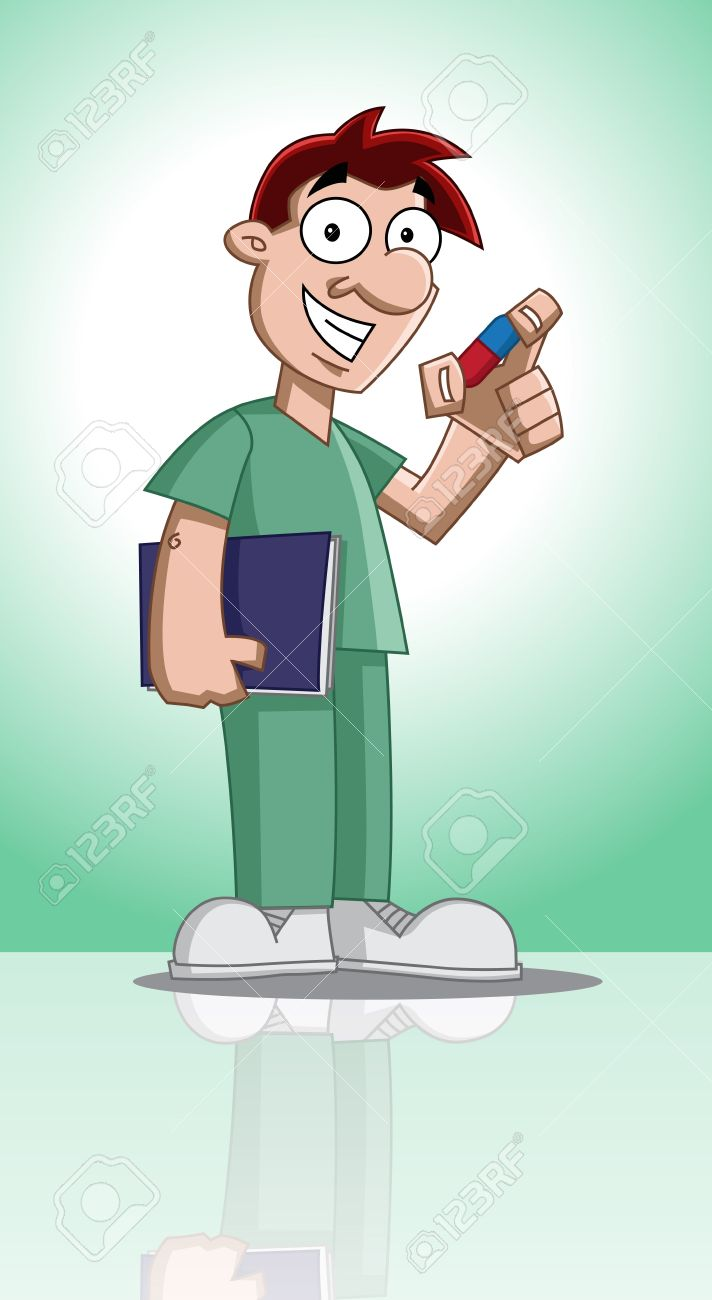 Cute cartoon character of profession (doctor) holding documents and showing a medicine Stock Vector - 12488259