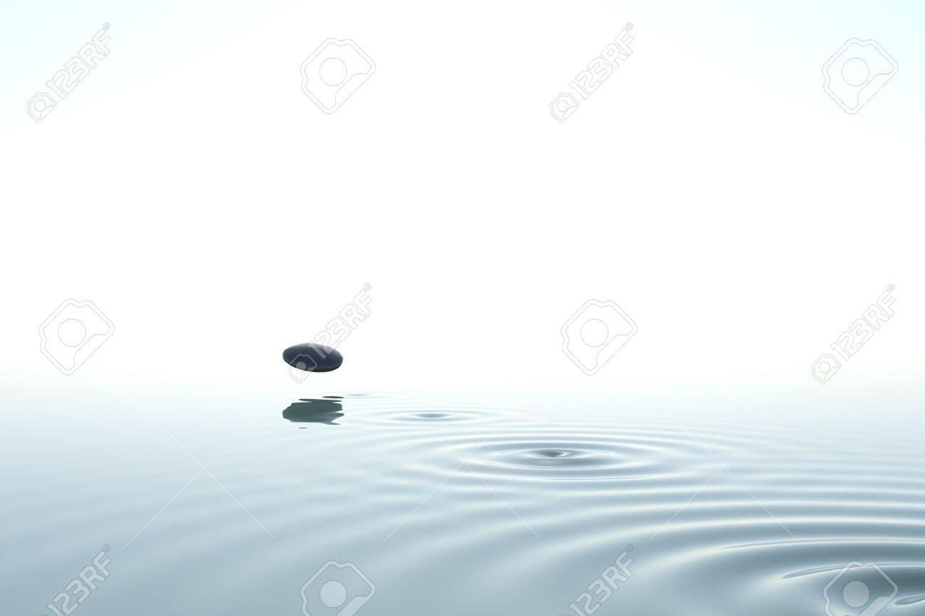 Zen Stone Thrown On The Water On White Background Stock Photo ...