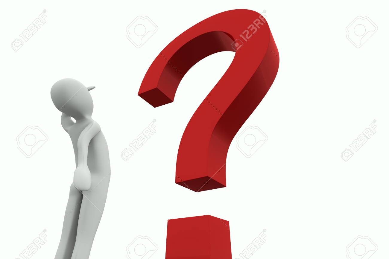 Man looking at a big red question mark on a white background Stock Photo - 8896109