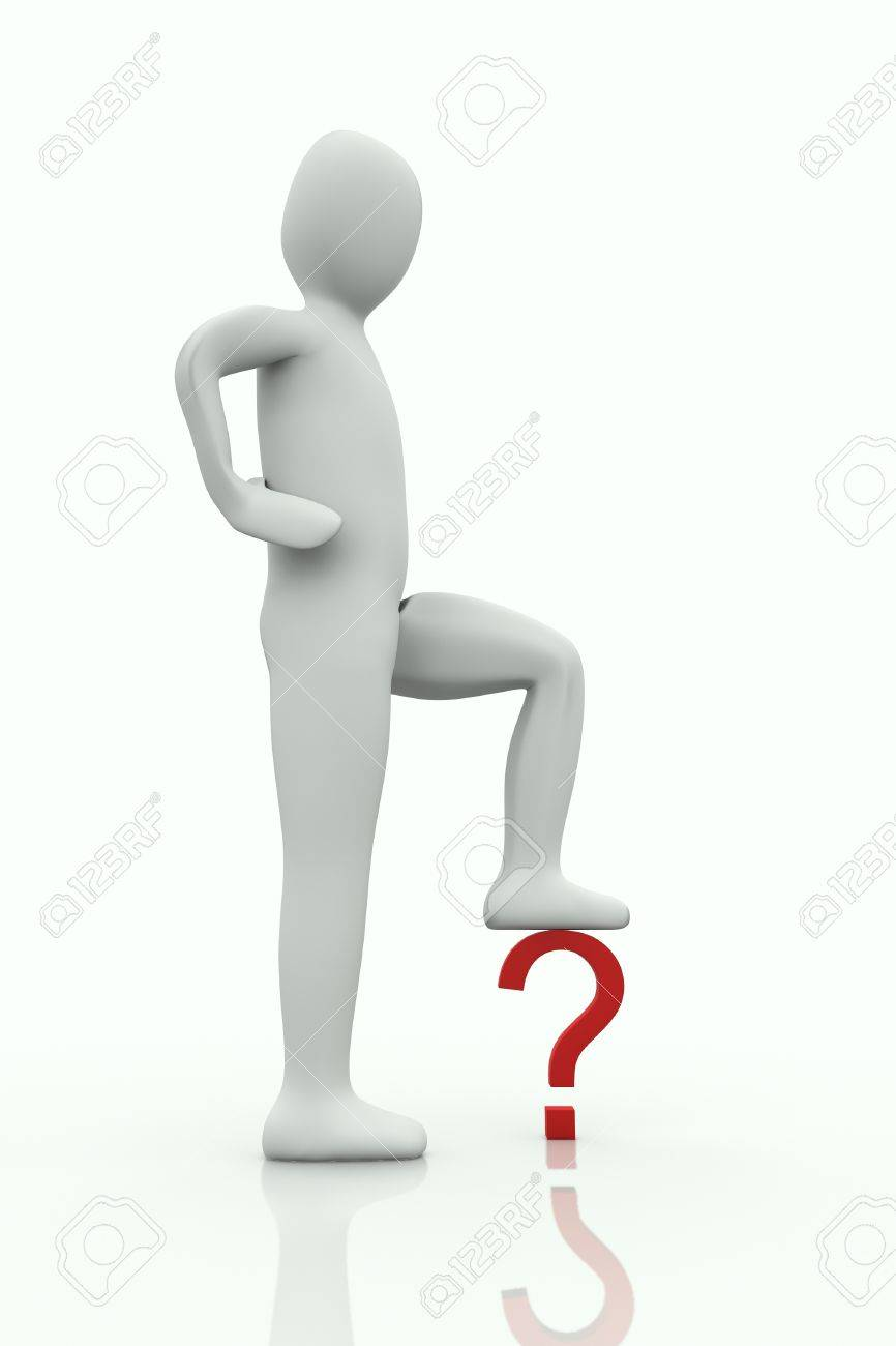 big man with the foot on a question mark on white background Stock Photo - 8896111