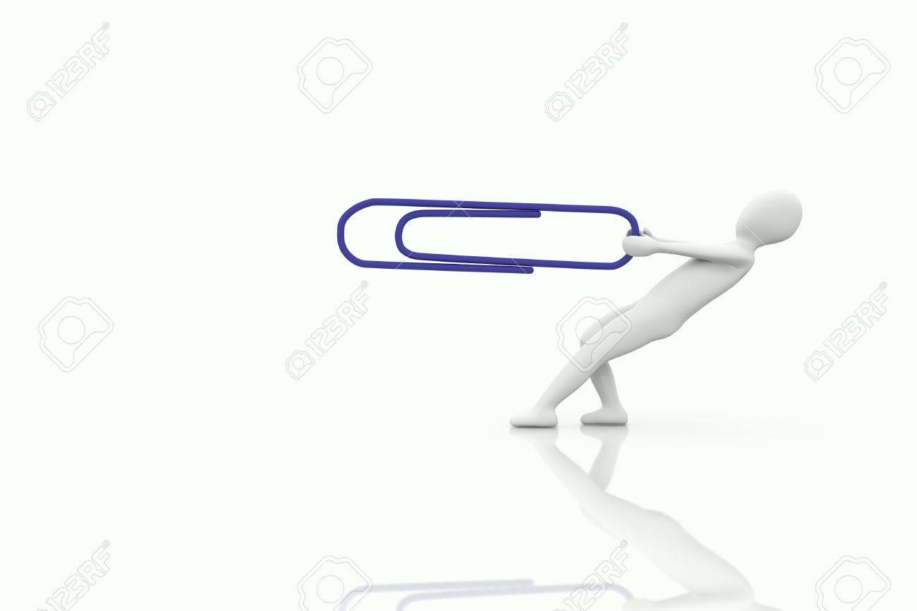3d human pull a big blue paper clip on a white background Stock Photo - 9038424