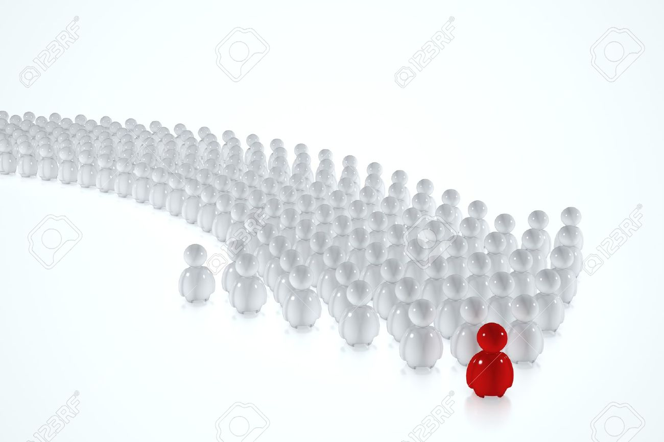 White 3d humans follow a red leader on a white background Stock Photo - 10229753