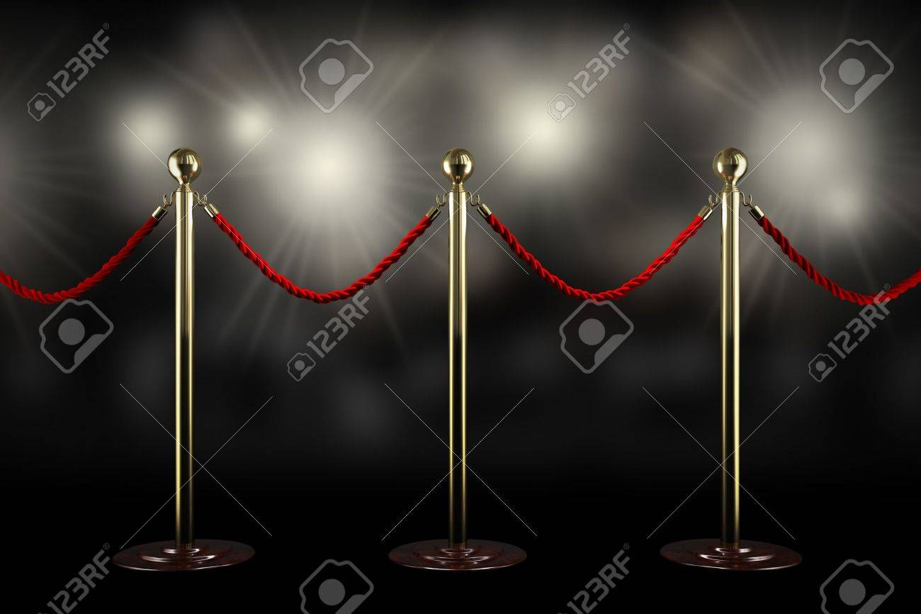 Three rope barrier and red velvet cord with flash light Stock Photo - 20839579