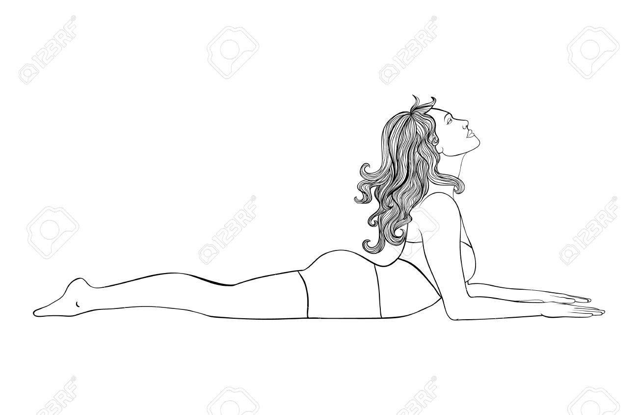 Coloring pages yoga - Yoga Pose Illustration Young Beautiful Woman Doing Ardha Bhujangasana Cobra Coloring Page