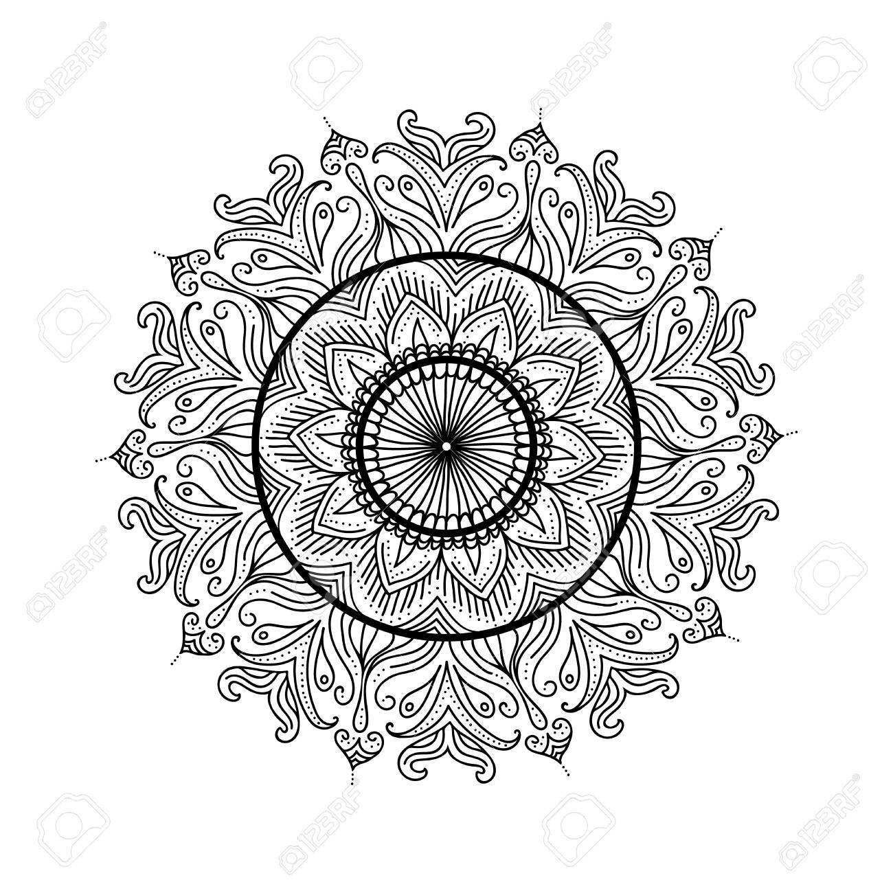 Beautiful Mandala Abstract Ornamental Vintage Coloring Page Template Vector Illustration Stock