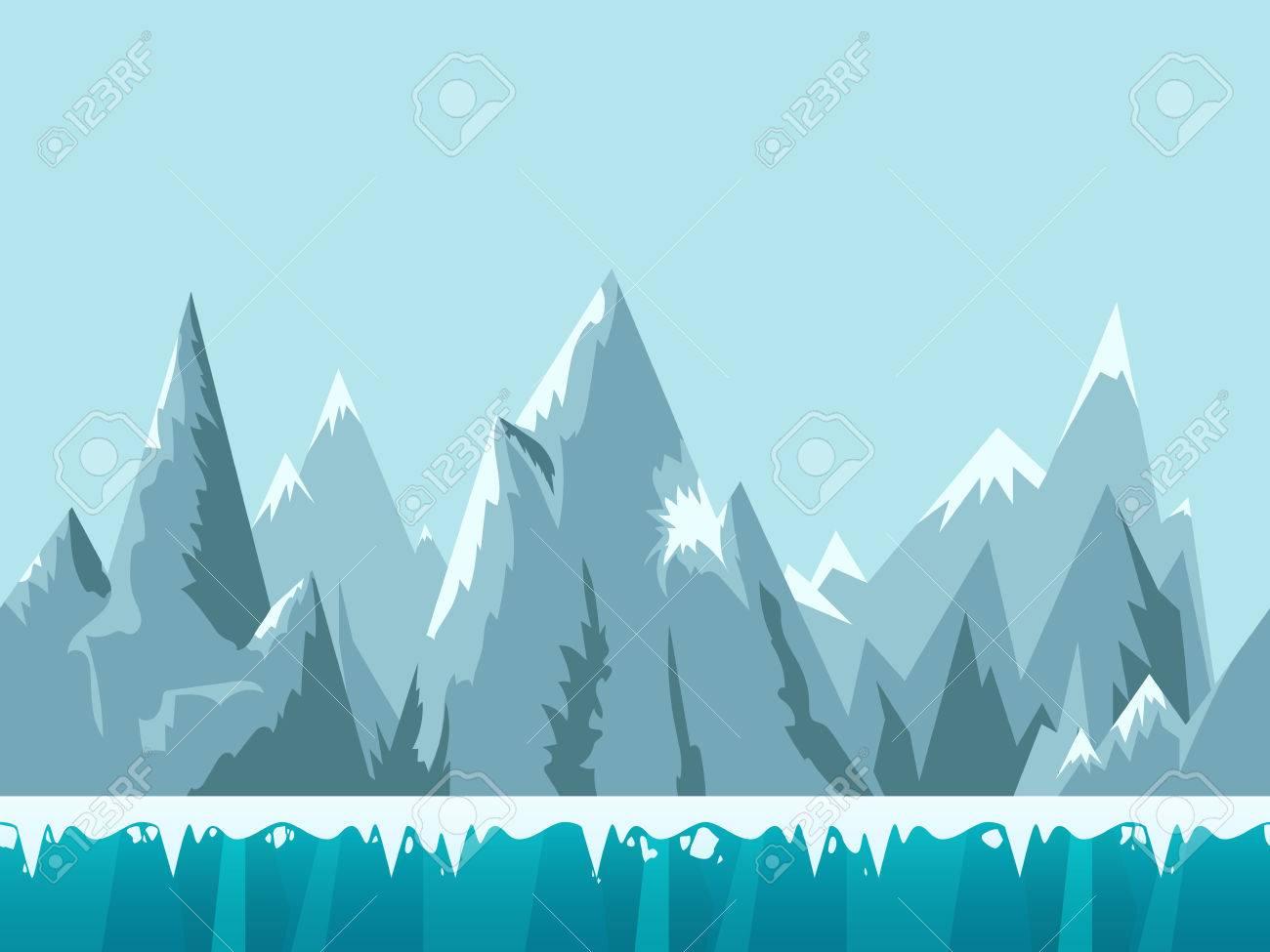 携帯アプリ、web、ゲームの雪と氷の山シームレスな背景イラスト