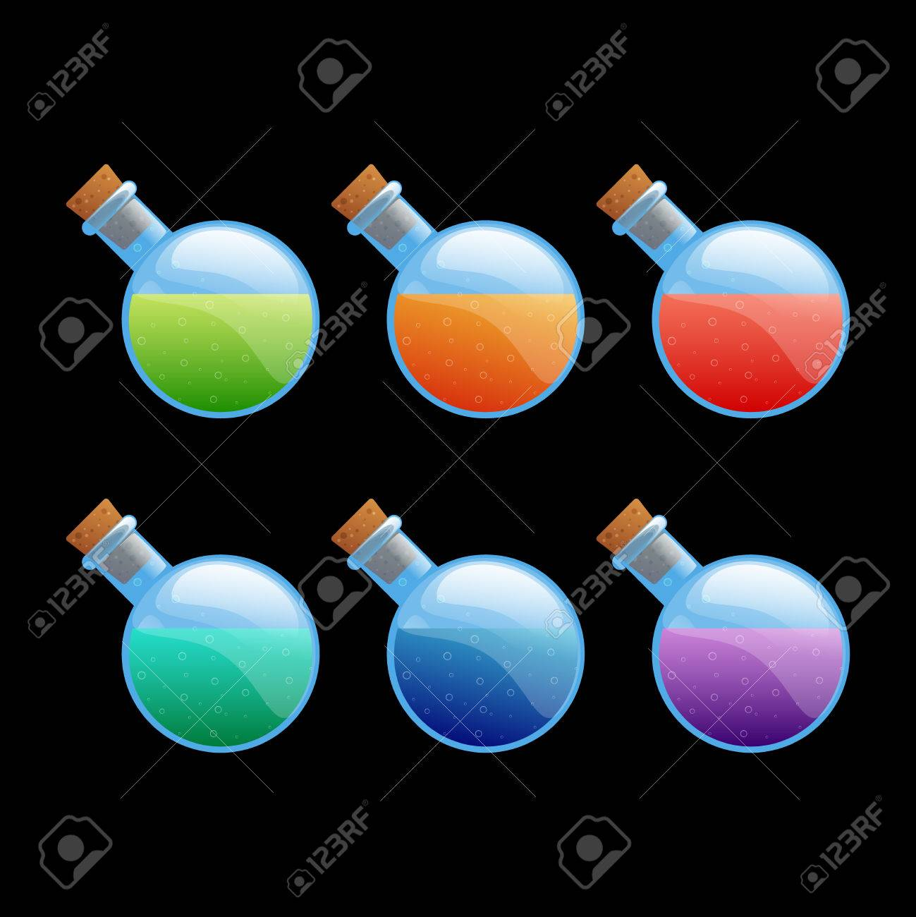Set Of Different Color Rounded Bottles Game Icons. Cartoon Vector ...
