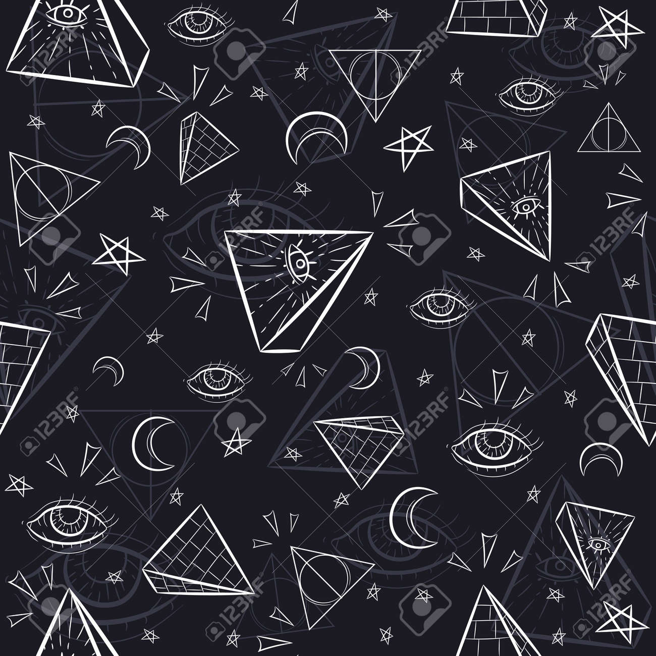 Seamless pattern with illuminati and occult symbols. Repetitive background with pyramids, triangles, the eye of God and celestial objects. - 167232063