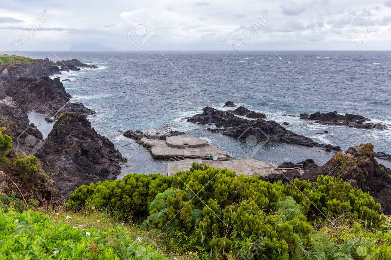 Natural Swimming Pools Near Santa Cruz Das Flores In The Azores Stock Photo Picture And Royalty Free Image Image 122084490