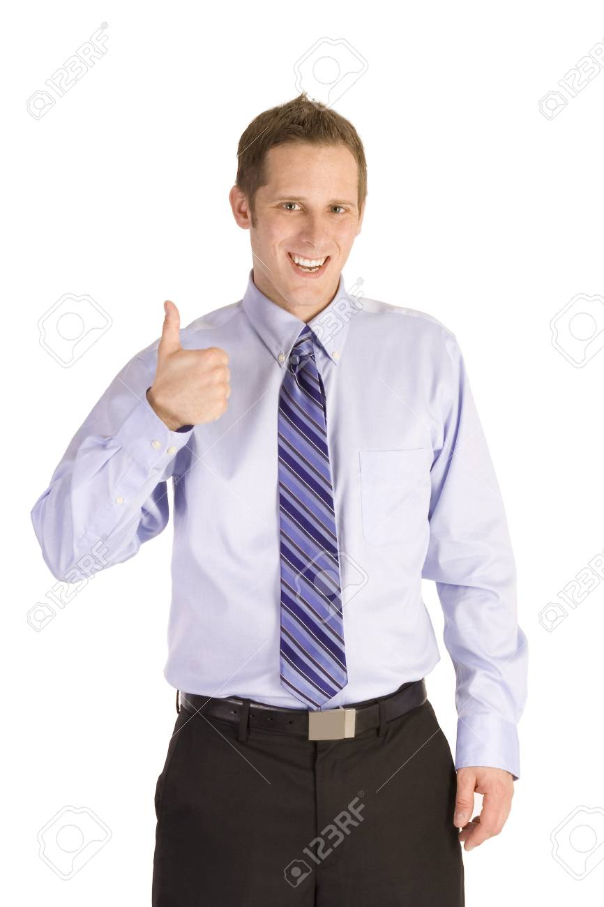 Young businessman giving a thumbs up isolated on white. Stock Photo - 4207678