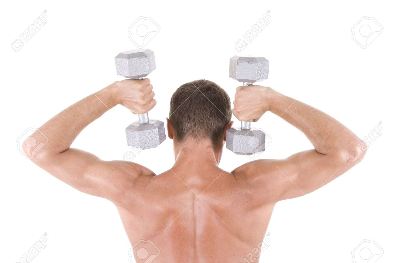 Man on a white background holding dumbbells. Stock Photo - 5558693